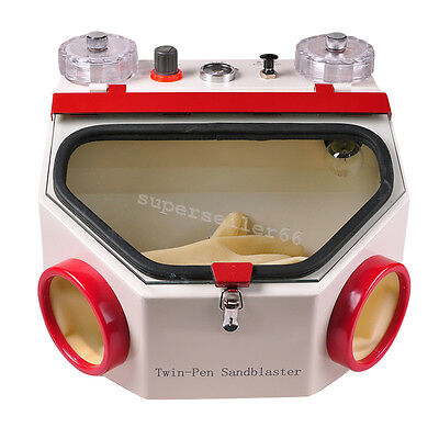 Dental Laboratory Twin Double Pen Fine Blasting Sandblaster Machine Sandblast Ce