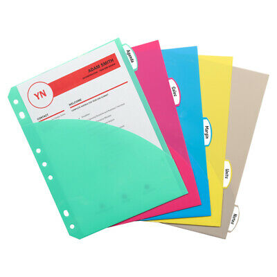 Mini-size 5-tab Poly Index Dividers With Pockets 5pk
