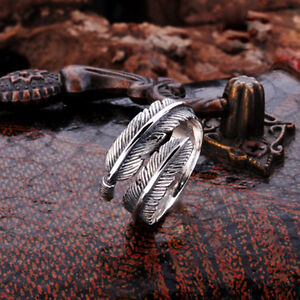 Adjustable Mens Womens Feather Solid 925 Sterling Silver Little Finger Ring