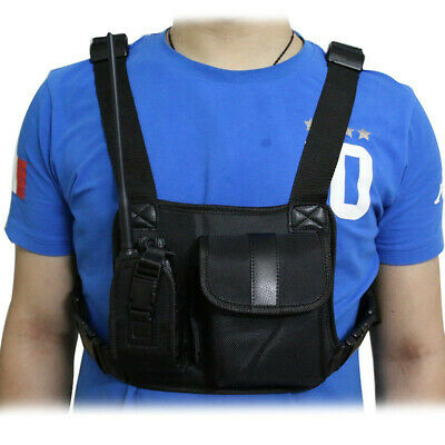 Universal Radio Chest Harness Bag Adjustable Talkie Holster Holder Vest Rig Pack