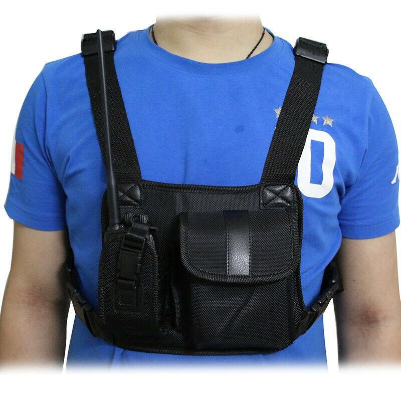 Universal Radio Chest Harness Bag Adjustable Talkie Holster Holder Vest Rig Pack