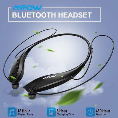 Mpow Wireless Bluetooth 5.0 Headset Neckband Retractable Stereo Headphone Earbud Black Retractable Headphone