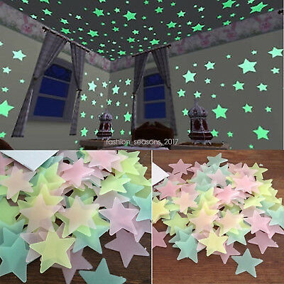 Bulk 1-1000PCS 3D Stars Moon Stickers Glow In The Dark Bedroom Decor Wall Dream ()