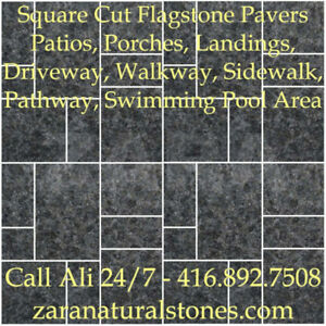 Ebony Granite Square Cut Flagstone Indian Stone Patio Flagstone