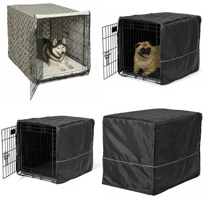 "Dog Crate Kennel Cover 48""/42""/36""/24"" Breathable Anti Bark"