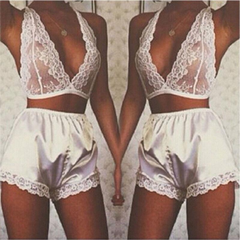 Women's Lingerie Lace Dress Bodysuit Nightwear Underwear Babydoll Sleepwear SEAU