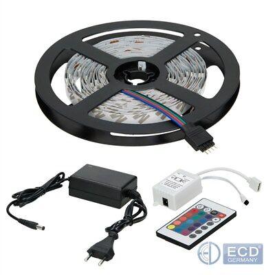 10m LED 5050SMD STRIP LEISTE BAND LICHTKETTE RGB+FERNBEDIENUNG+NETZTEIL 30LED/m