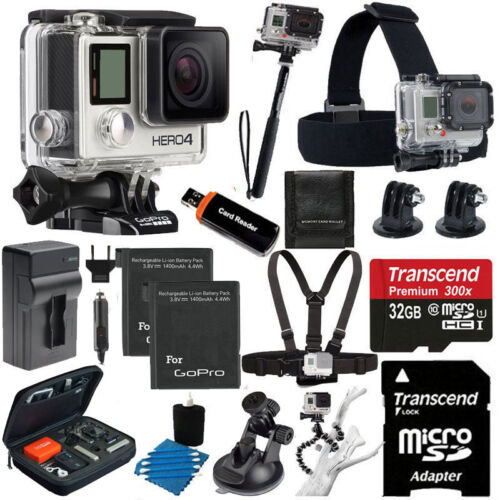 GoPro HERO4 Black Edition + 2 battery + 32GB SD All In 1 Accessory Mount Bundle