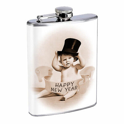 Vintage New Years Eve D14 Flask 8oz Stainless Steel Hip Drinking Whiskey - New Years Eve Drinks