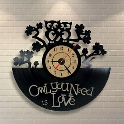 Antique Vintage Retro Clock Creative Owl Shape Vinyl LP Large Mounted Wall Clock