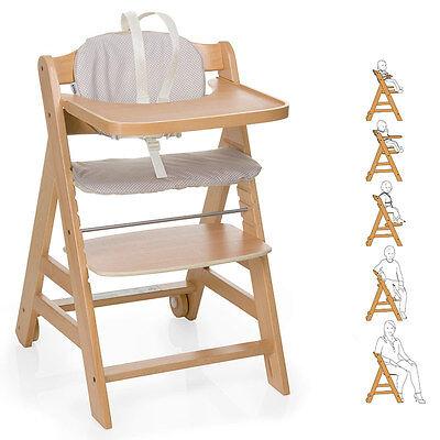 Hauck Baby und Kinder Hochstuhl Beta Plus - Natur | Treppenhochstuhl aus Holz