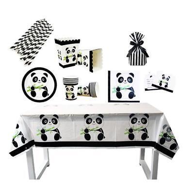 Panda Theme Kids Child Plates Tableware Table Supplies Birthday Party Decor 6L - Panda Birthday Party Supplies
