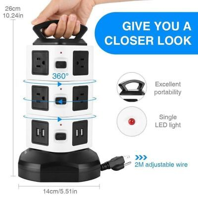 Surge Protector Power Strip, Tower Multi Plug Outlet with Long Extension Cord