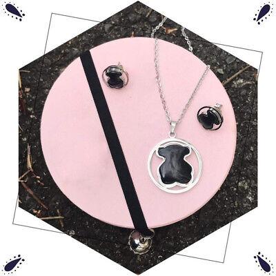 - High Quality Titanium steel Black agate Bear Necklace Bracelet Earrings Set