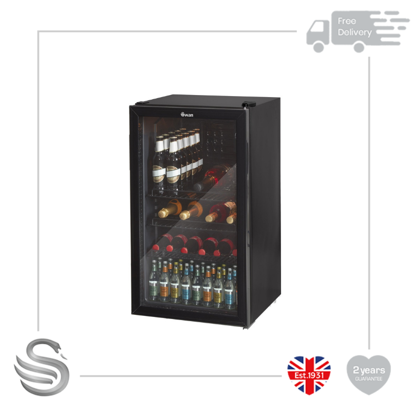 Swan 80L Black Undercounter Glass Fronted Fridge Wine Cooler SR12030BN