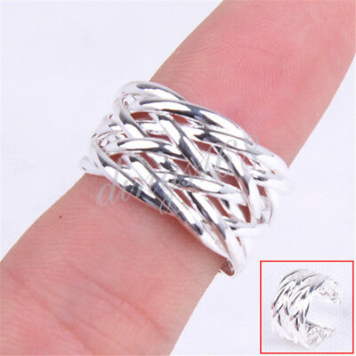 Designer Inspired 925 Sterling Silver Open Woven Knot 10mm wide Band Ring H229