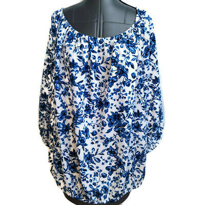 Jones New York Shirt Top Size 3x Blue White Floral Blouson ¾ Sleeve Elastic Band Jones New York Elastic