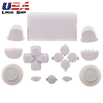 Customized Full Buttons Kits R1L1R2L2 Triggers for PS4 Controller Solid White