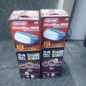 2 Brand New 3/4 hp Genie SilentMax100 Garage Door Openers