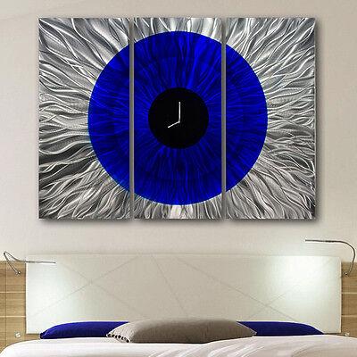 Large Blue, Silver & Black Wall Clock - Abstract Metal Wall Art Sculpture