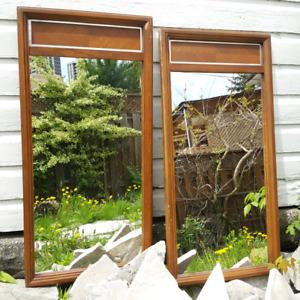 Two Matching Mid Century Modern Teak Mirrors