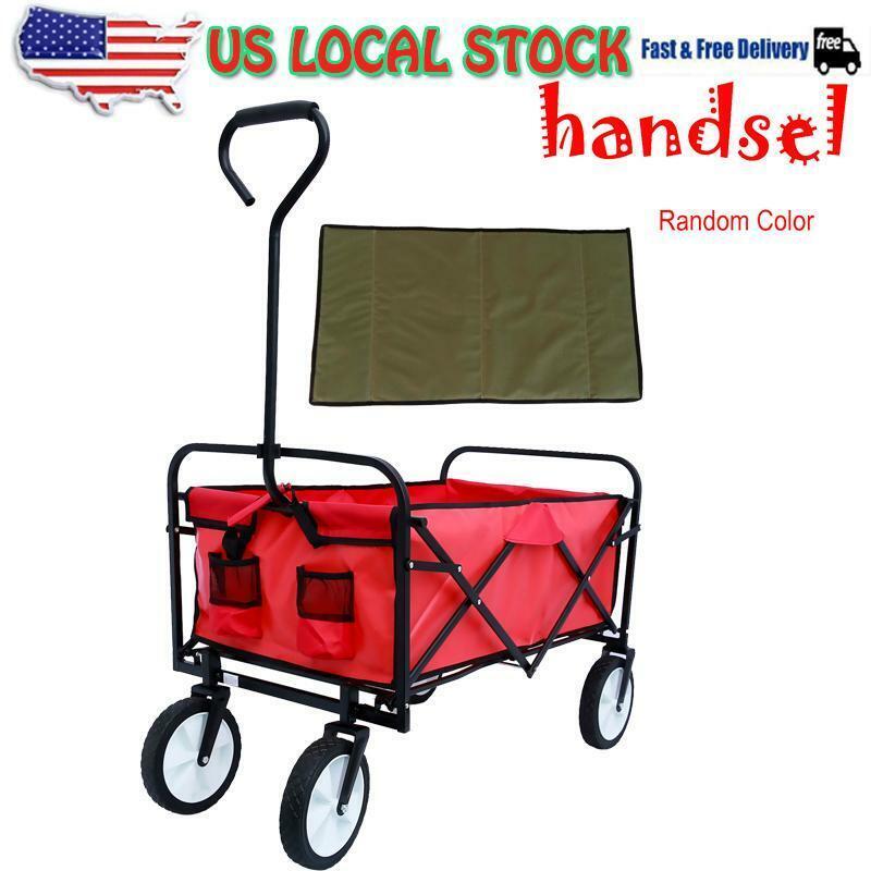 Pull Push Collapsible Folding Wagon Beach Cart Outdoor Garde