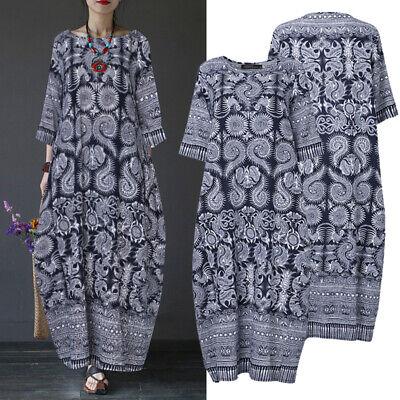 Hals-kaftan (ZANZEA Damen Rundhals Kaftan Kleid Maxikleid Baumwolle Linen Floral Strandkleid)