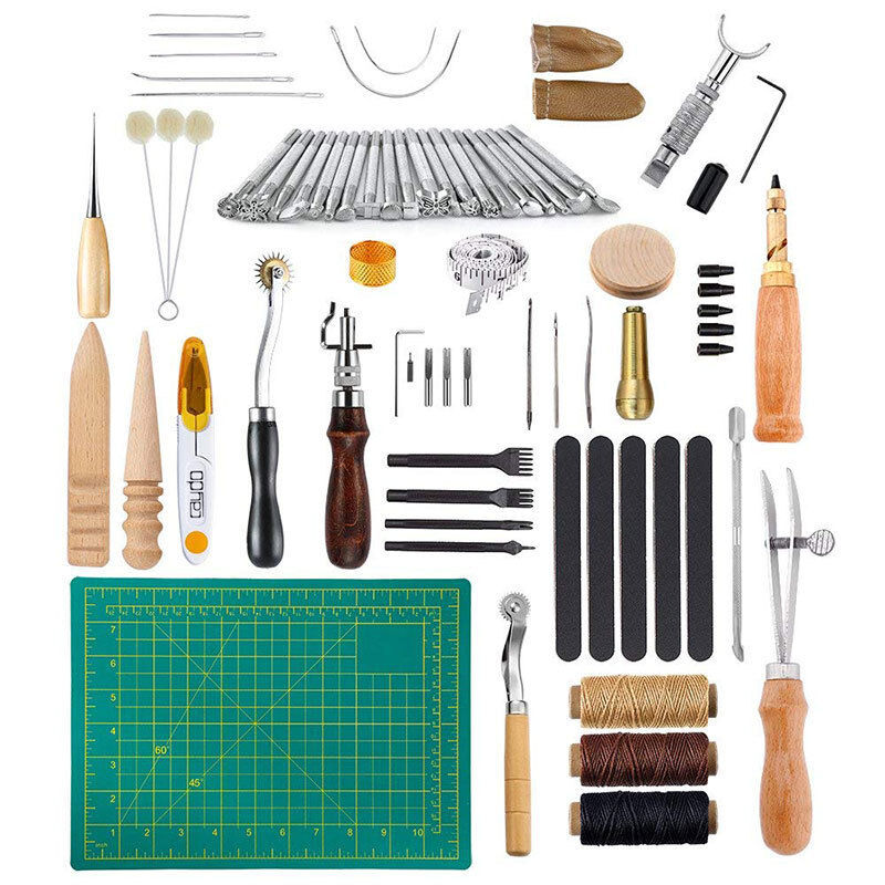 50pcs/Set of Leather Craft Tools Hand-stitched Stitching Engraving DIY Leather