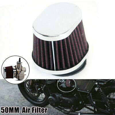 Motorcycle 50MM Air Filter Carburetor Pod Cleaner Elliptical Intake Universal