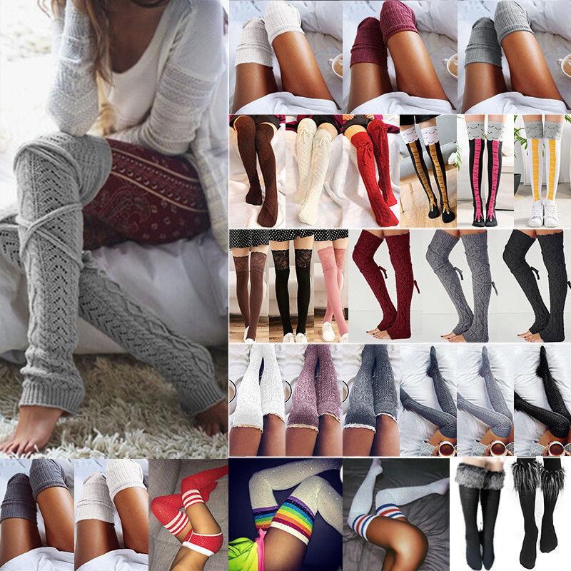 Damen Winter Überknie Overknee Strümpfe Lange Socken Strick Beinwärmer Stockings