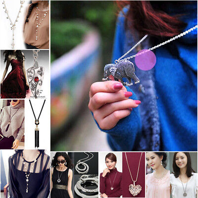 Cham Women Crystal Pearl Pendant Necklace Long Sweater Chain Jewelry Accessories