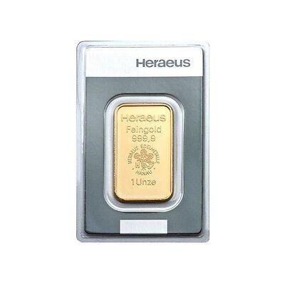 1 oz (Unze) Goldbarren Heraeus Gold 999,9 Feingold Barren