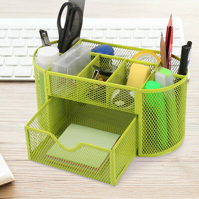 Green Metal Wire Mesh Pen Desk Top Storage Organizer Holder Office School Supply