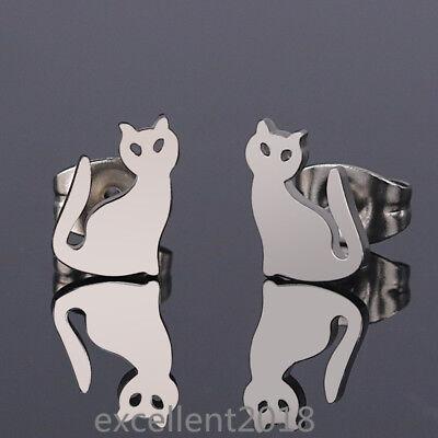 Women Men Stainless Steel Cat Hollow Eyes Allergy Free Elegant Stud Earrings