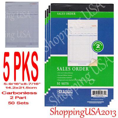 2 Part Sales Order - 5Pcs Sales Order Books Receipt 2 Part Carbonless Form Invoice 50 Set Green