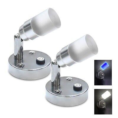 2X12V Drehbar LED Leselampe Wandleuchte Tischlampe Schalter Wohnmobil Wohnwagen