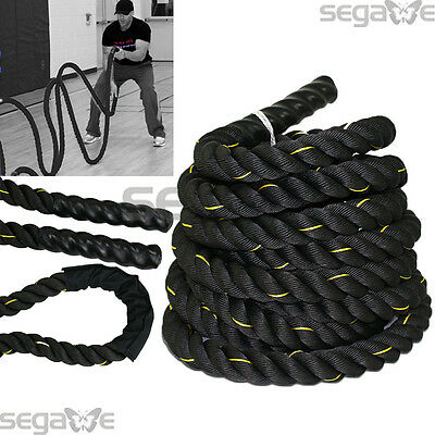 "1.5"" Poly Dacron 30 ft Battle Rope Workout Strength Exercise Training Rope Black"