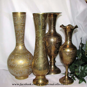 VINTAGE BRASS VASES HOME DECOR CHINA GLASS JEWELLERY ANTIQUES
