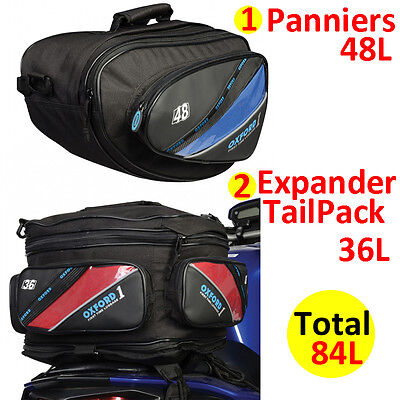 Oxford 1st Time Sports Panniers + TailPack Motorbike Motorcycle Luggage Bag 84L
