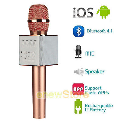 HOT Q9 Wireless Bluetooth Karaoke Microphone USB Speaker Mini Home KTV Rose Gold