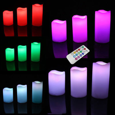 3er LED Kerzen mit Fernbedienung flammenlos Teelichter Farbwechsel LED Kerzen (Flammenlose Led Tee Lichter)