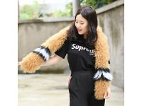 DAYMISFURRY--Black, White And Brown Mongolia lamb Fur Lady Wrap