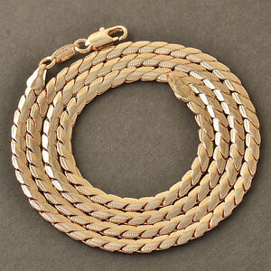 24inches 18k Rose Gold Mens Womens Snake Rope Chain Necklace