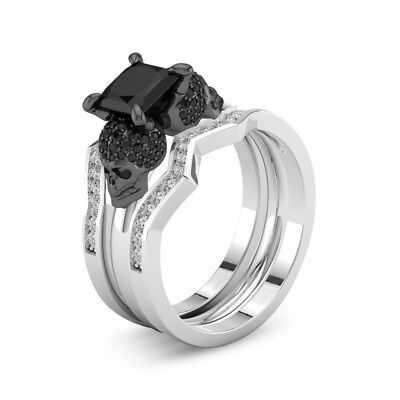 Black Ring Set Unique Skull Skeleton Women's Rings Fashion Goth Punk Jewelry -