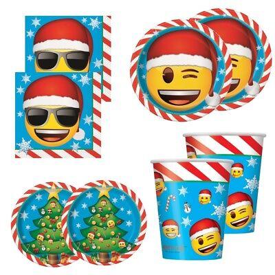 Emoji Christmas Xmas Party Supplies Tableware (Cups Plates - Christmas Party Supplies