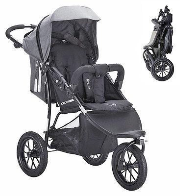 Knorr Baby Sportwagen Buggy Kinderwagen Joggy Active -  Exklusiv in Schwarz Grau