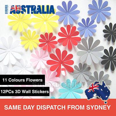 Home Decoration - 12Pcs 3D Flowers Wall Decals Removable Sticker Kids Art Nursery Decor DIY AUS