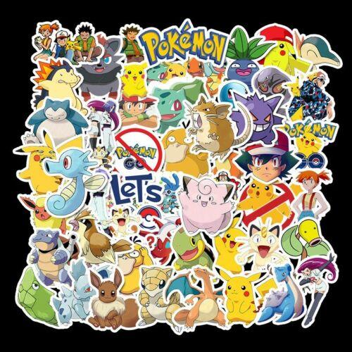 50 PCS Pokemon Pikachu Cartoon Stickers Waterproof Vinyl Decal for Laptop