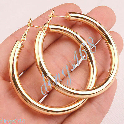 18K Yellow Gold Filled Round 50MM Large LIGHT WEIGHT Hoop Fashion Earrings H7