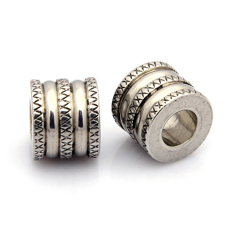 10pcs Gold Tone 304 Stainless Steel Beads Large Hole Grooved Loose Spacer 10x5mm